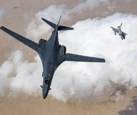 Mirage 2000 and Rockwell B-1 Lancer Stock Photo