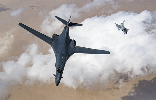 Mirage 2000 and Rockwell B 1 Lancer Stock Photo