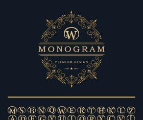 Monogram with golden decor vector