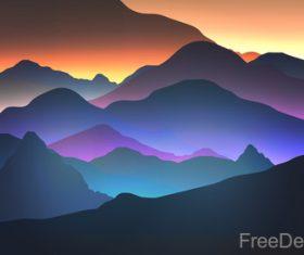 Mountain sunrise vector background