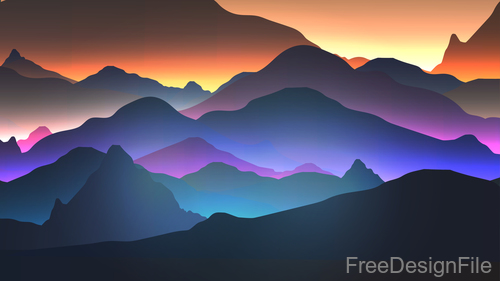 Mountain sunrise vector background