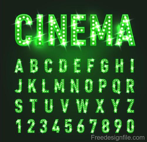 Neon green alphabet with number fonts vector