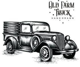 Old Farm Truck hand drawn vector