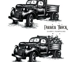 Old Farm Trucks carry pumpkins vector