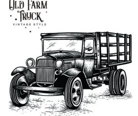 Old farm truck vintage style vector