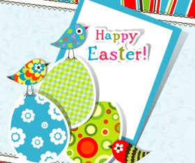 Paper easter card template vector 01