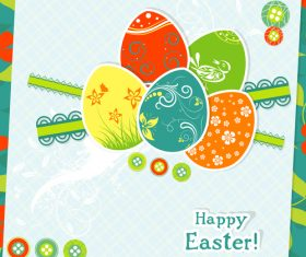 Paper easter card template vector 04