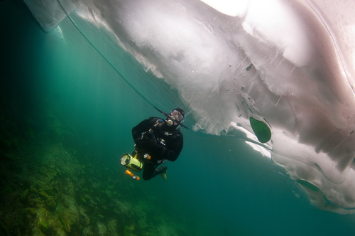People diving under the ice Stock Photo