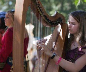 People playing harp Stock Photo 01