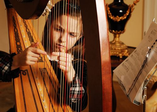 People playing harp Stock Photo 02