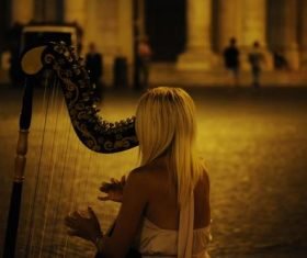 People playing harp Stock Photo 03