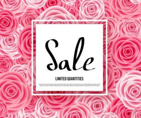 Pink flower pattern with spring sale design vector 01