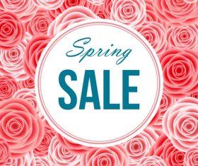 Pink flower pattern with spring sale design vector 02
