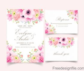 Pink flower with wedding invitation card template vector 01