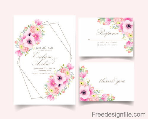 Pink flower with wedding invitation card template vector 02