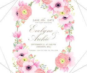 Pink flower with wedding invitation card template vector 03