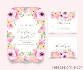 Pink flower with wedding invitation card template vector 04