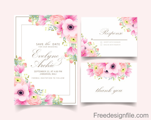 Pink flower with wedding invitation card template vector 05
