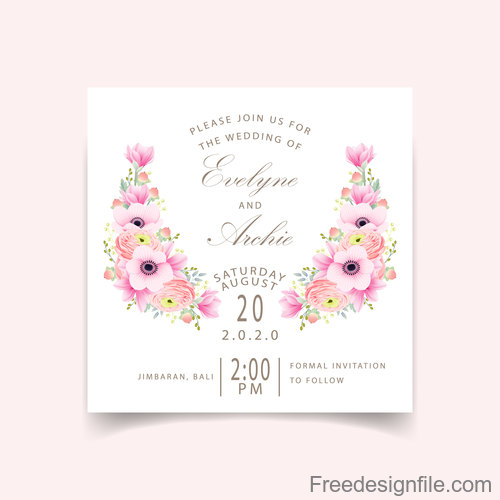 Pink flower with wedding invitation card template vector 06