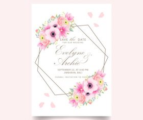 Pink flower with wedding invitation card template vector 07