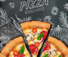 Pizza double cheese poster template vector 02