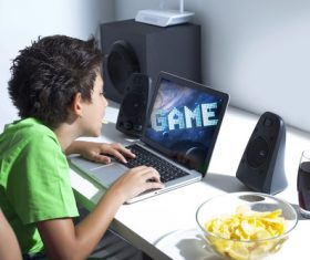 Playing videogames Stock Photo 02