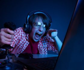 Playing videogames Stock Photo 06