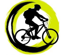 Pople with bicycle and brush vector