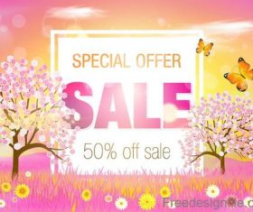 Poster pink spring sale template vector