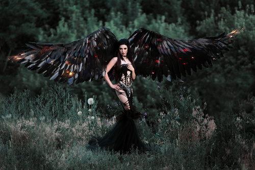 Pretty girl demon with black wings Stock Photo 01