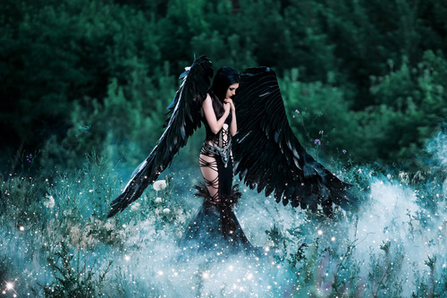 Pretty girl demon with black wings Stock Photo 02