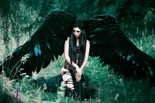Pretty girl demon with black wings Stock Photo 03