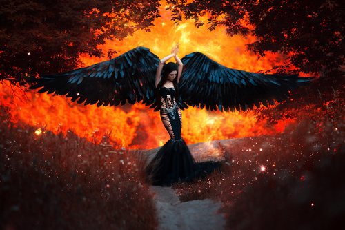 Pretty girl demon with black wings Stock Photo 06