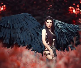 Pretty girl-demon with black wings Stock Photo 07