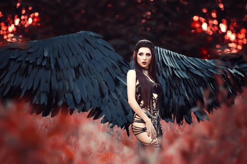 Pretty girl demon with black wings Stock Photo 07