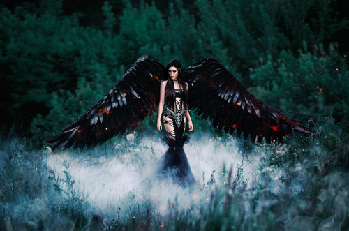 Pretty girl demon with black wings Stock Photo 08
