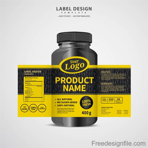 Product backage bottles with labels template vector 04