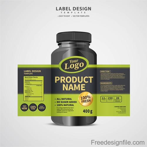 Product backage bottles with labels template vector 05
