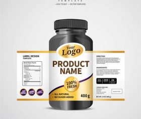Product backage bottles with labels template vector 06