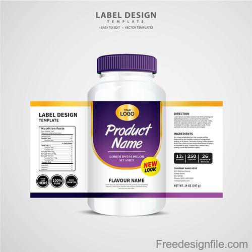Product backage bottles with labels template vector 07