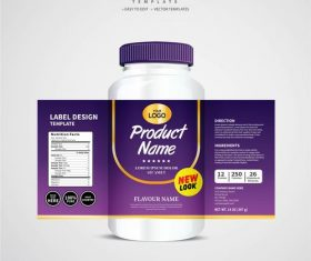 Product backage bottles with labels template vector 08