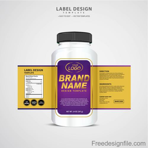 Product backage bottles with labels template vector 09