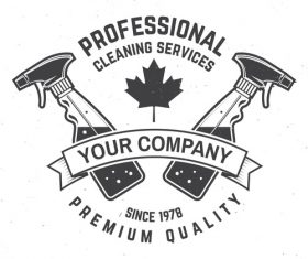 Profeessional cleaning services labels design vector