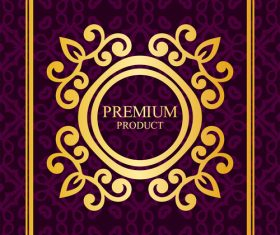 Purple Luxury decor card vintage vector 02