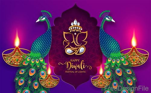 Purple diwali background with peacock vector