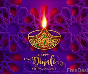 Purple floral decor with diwali design vector