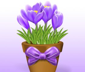 Purple flower and pot with bows vector