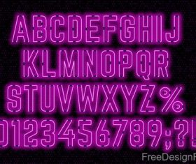 Purple neon alphabet font design vector 01