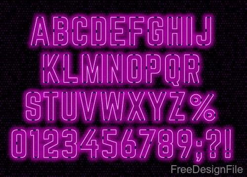 Purple neon alphabet font design vector 01