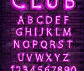 Purple neon alphabet font design vector 02